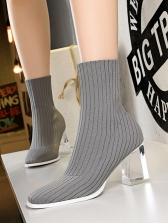 Winter Clear Perspex Heel Elastic Wool Ankle Boots