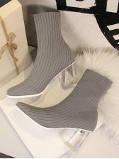 Winter Clear Perspex Heel Elastic Wool Ankle Boots