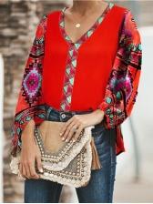 National Geometric Print Loose T-Shirt For Women