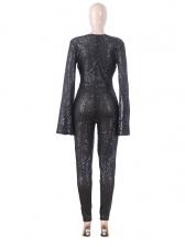 V Neck Flare Sleeve Sequin Jumpsuit