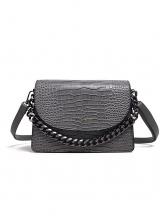 Alligator Print Rectangle Solid Color Chain Shoulder Bag