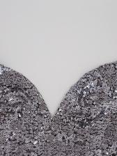 Deep V Neck Backless Sleeveless Sequin Dress