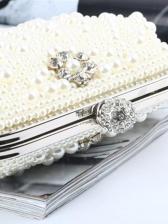 Exquisite Scallops Shape Chain Faux Pearl Clutch Bag