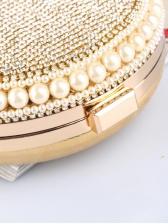 Fashion Rhinestone Faux Pearls Women Round Chain Bags