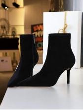 Inner Fluff High Heeled Black Womens Boots