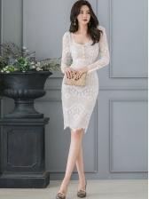 Korean Hook Flower Long Sleeve Lace Dress