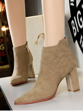 Simple Suede Chunky Heels Ankle Boots