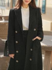 Fashion Black Woolen Double-Breasted Blazer