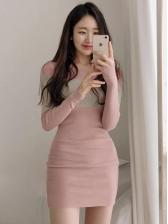 Contrast Color Pink Long Sleeve Knit Dress