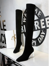 Square Toe Clear Chunky Over The Knee Boots
