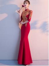 Embroidery Fishtail Hem Red Wedding Dress