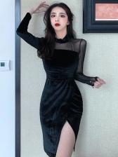 Gauze Patchwork Black Long Sleeve Velvet Dress