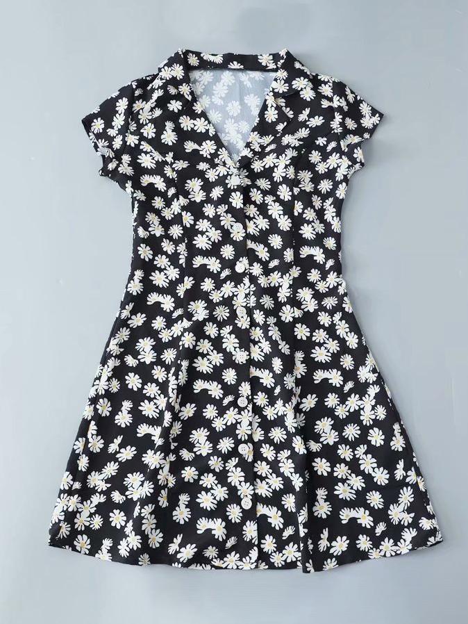 Lapel Collar Floral Short Sleeve A-Line Dress