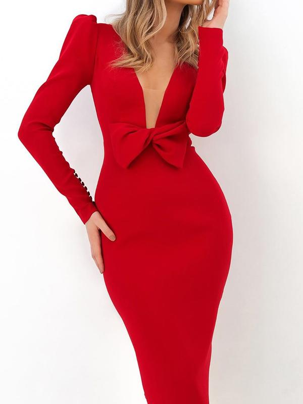Deep v Bowknot Red Long Sleeve Bodycon Dress