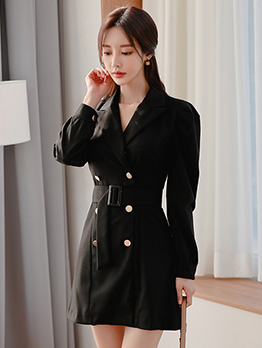 Ol Style Double-Breasted Black Long Sleeve Dress