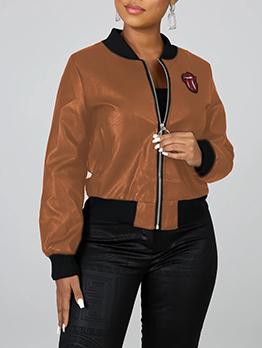 Back Sequined Lip Pattern Zipper Up Pu Ladies Jacket