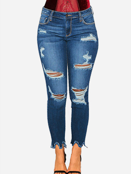 Trendy Mid Waist Distressed Jeans For Women