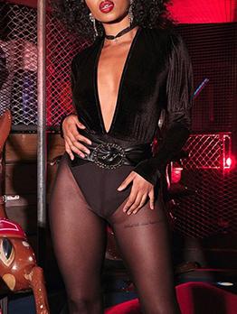 V Neck Puff Sleeve Velvet Bodysuit