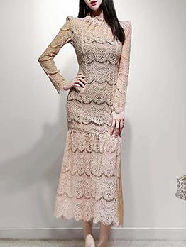 Retro Lace Solid Long Sleeve Midi Dress