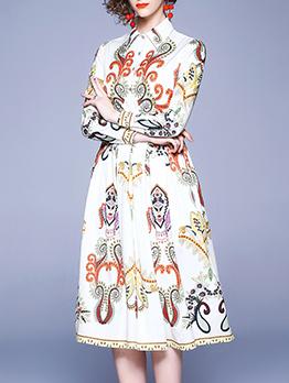 Elegant Printed Shirt Long Sleeve Dress