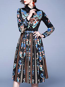Vintage Printed Turn-Down Collar Shirt Dress