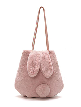 Rabbit Ears Design Pure Color Plush Shoulder Bag