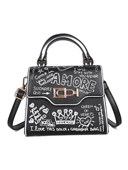 Trendy Letter Graffiti Double Handle Ladies Shoulder Bag