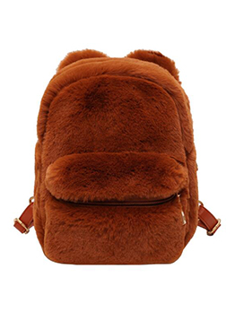 Hairy Plush Ears Design Solid Color Small Backpack