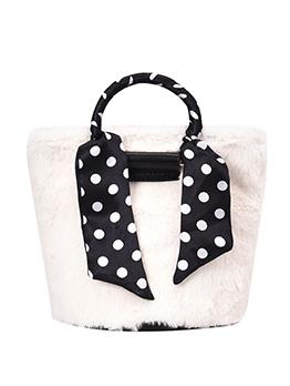 Polka Dots Silk Scarf Plush Ladies Crossbody Handbags