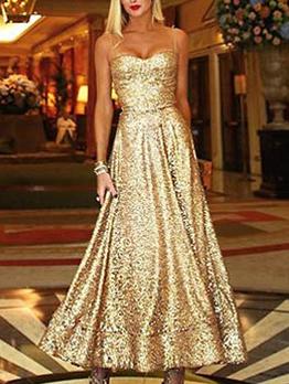 Elegant Large Hem Sleeveless Golden Evening Dress
