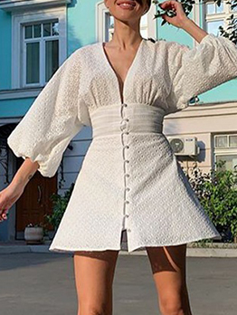 Fashion Single-Breasted Lantern Sleeve White Dress