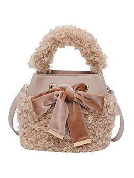 Lambswool Patchwork Pu Tie Bow Crossbody Handbags