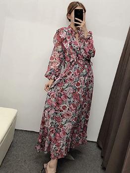 Ruffled Trim Long Sleeve Floral Maxi Dress