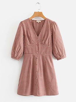 Vocation Style V Neck Short Sleeve Plaid Dress