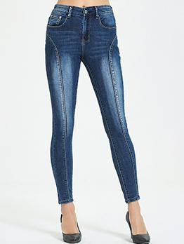 Mid Waist Skinny Jeans For Women
