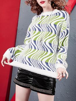 Contrast Color Curve Pattern Crew Neck Sweater
