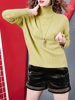 Minimalist Pure Color Side Split Turtleneck Sweater