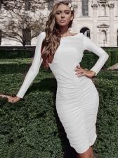 Euro Backless Draped Long Sleeve Bodycon Dress