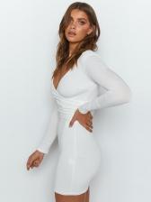 Deep V Neck Backless Long Sleeve Mini Dress