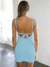 Deep U Neck Backless Draped Sleeveless Dress