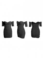 Off Shoulder Draped Long Sleeve Bodycon Dress