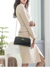 Elegant Double-Breasted Long Sleeve Dress