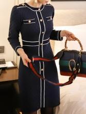 Contrast Color Line Button Long Sleeve Dress