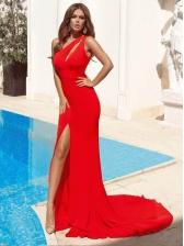 One Shoulder Split Hem Floor-Length Red Evening Dress