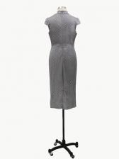 Mock Neck Glitter Short Sleeve Midi Dress For Women