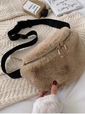 Double Zipper Plastic Buckle Belt Fuzzy Crossbody Bags
