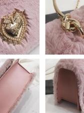 Metal Handle Plush Chain Shoulder Bag