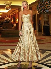 Elegant Large Hem Sleeveless Golden Evening Dress