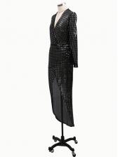 Deep V Neck Split Hem Sequin Long Evening Dress