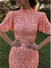 Fashion Backless Sequin Floor-Length Evening Dress